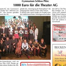 Pressemitteilung: 1000 Euro für die Theater-AG