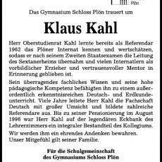 Nachruf: Klaus Kahl