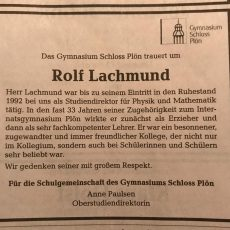 Nachruf: Rolf Lachmund