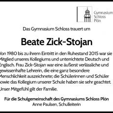 Nachruf: Beate Zick-Stojan